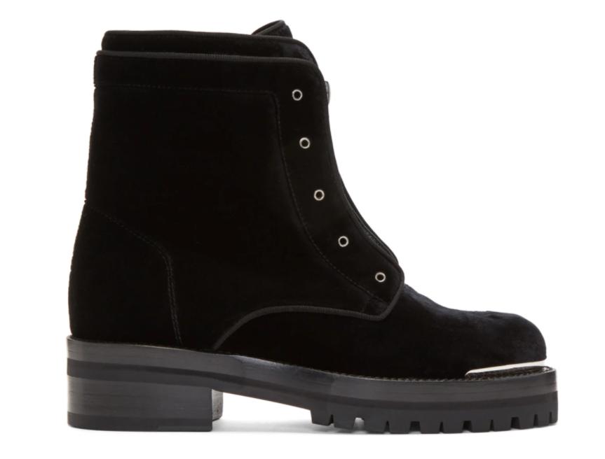 ssense alexander mcqueen velvet boots