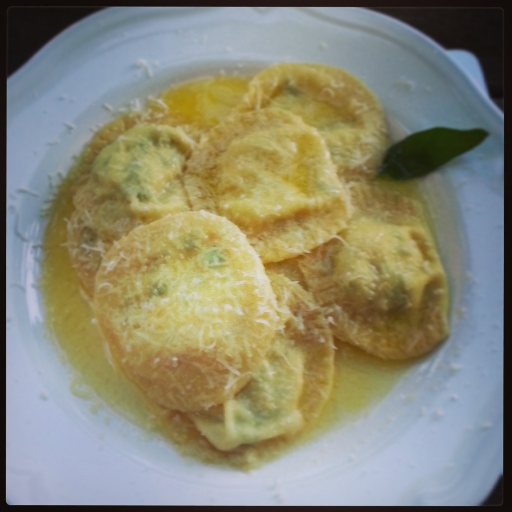 Courgette ravioli with sage butter