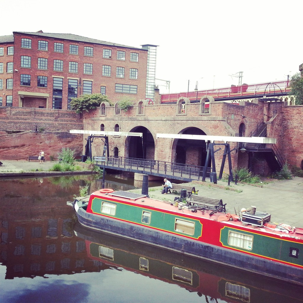 canal boat and bridge castlefield manchester